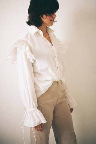 Ruffle Shirt // White