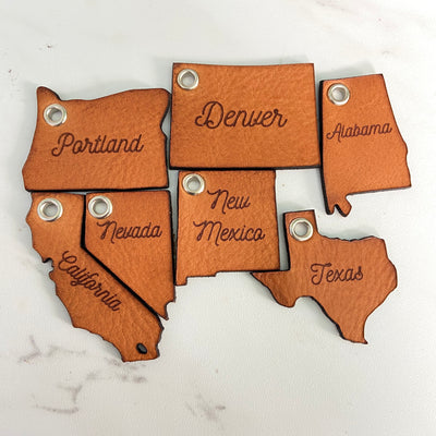 Personalized State Key Chain - Pecu Leather Co.