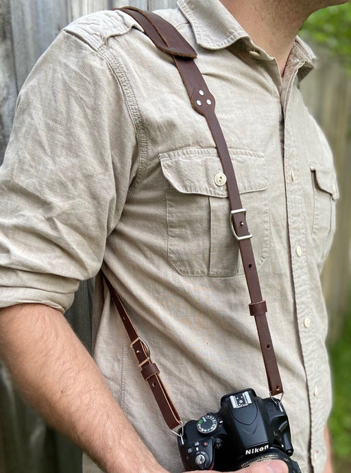 The Bates leather camera strap is the perfect addition for your camera gear.  Features conway hooks, making it easy to adjust to a comfortable length.   Made from full grain leather.   Hand made in Austin, TX!