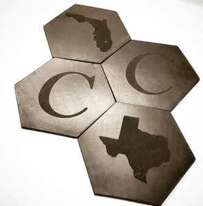 These leather coasters will complete any home or office decor.  Choose any combination of letters and states.  Upon checkout please input the desired states and letters in the cart notes.