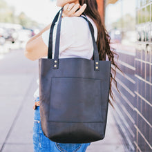 Load image into Gallery viewer, The Abbie - Black Leather Tote Bag