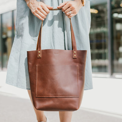 The Abbie - Brown Leather Tote Bag - Pecu Leather Co.