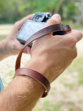Load image into Gallery viewer, The Davis - Personalized Leather Camera Wrist Strap - Pecu Leather Co.