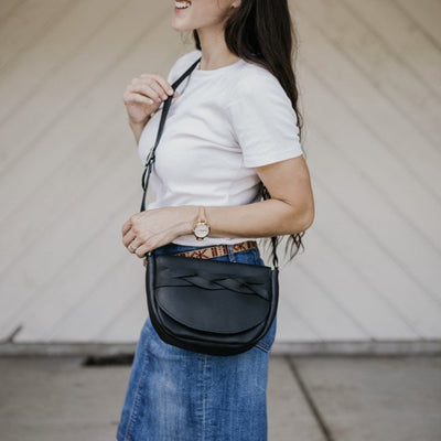 The Trinity -Black Leather Crossbody Bag - Pecu Leather Co.