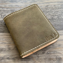 Load image into Gallery viewer, The Cahaba - Olive Leather Bifold Wallet - Pecu Leather Co.