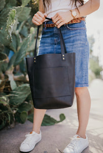 The Abbie - Black Leather Tote Bag