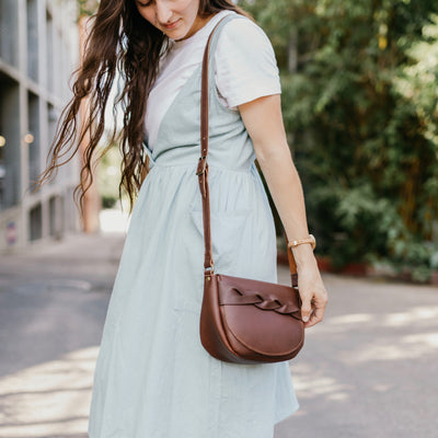The Trinity - Brown Leather Crossbody Bag - Pecu Leather Co.