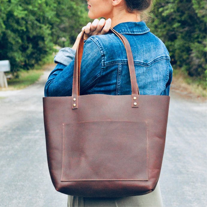 The Austin - Brown Leather Tote Bag - Pecu Leather Co.