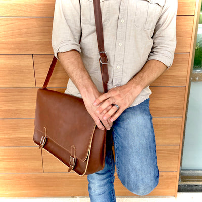 The Austin - Leather Messenger Bag - Pecu Leather Co.