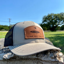 "Load image into Gallery viewer, ""Come and take it"" Fishing - Leather Patch Trucker Hat"