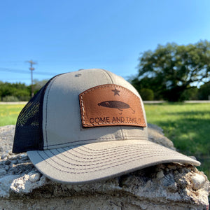 """Come and take it"" Fishing - Leather Patch Trucker Hat"
