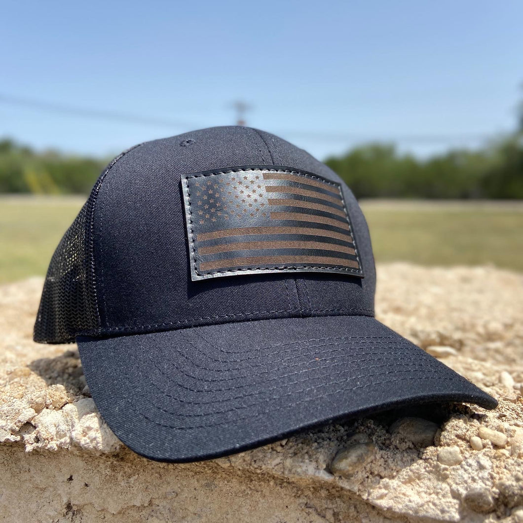 American Flag - Black on black Leather Patch Trucker Hat - Pecu Leather Co.