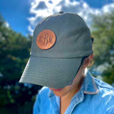 Monogrammed Leather Patch Dad Hat - Pecu Leather Co.