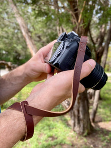 The Davis - Personalized Leather Camera Wrist Strap - Pecu Leather Co.