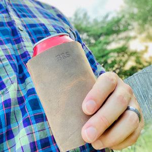 The Dickinson -Personizable Leather Koozie - Pecu Leather Co.