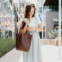 Load image into Gallery viewer, The Abbie - Brown Leather Tote Bag