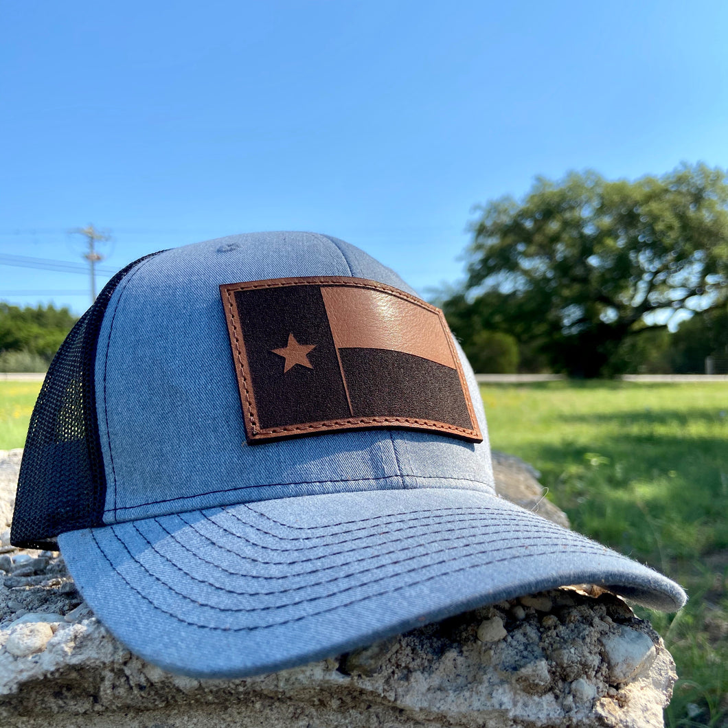 Texas State Flag - Leather Patch Trucker Hat