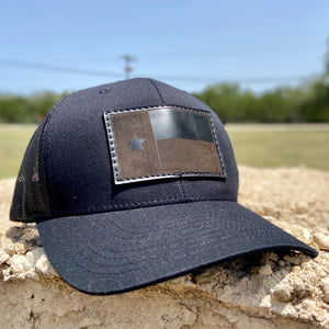 Texas State Flag - Black on black Leather Patch Trucker Hat