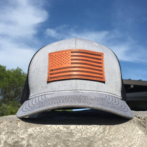 American Flag - Leather Patch Trucker Hat