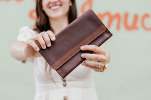 The Coleto - Brown Leather Clutch - Pecu Leather Co.