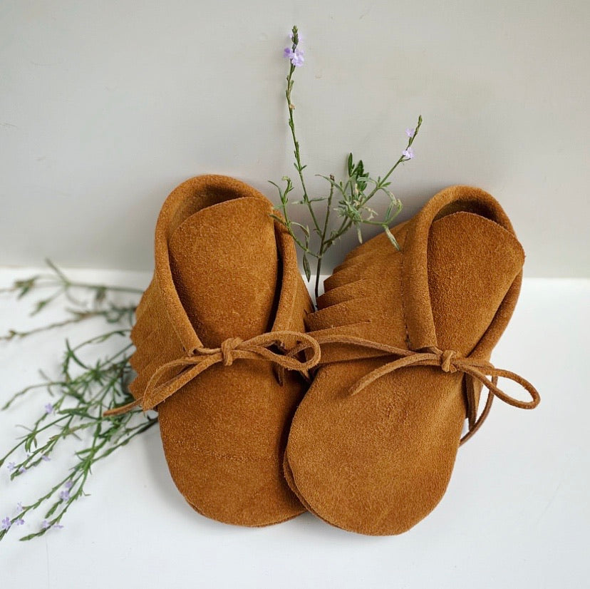 The Catoma - Suede Baby Moccasins - Pecu Leather Co.