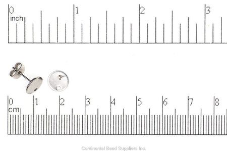 Post Earwire Stainless Steel EW23SS 8mm Round Post Earwire Earrings & Post Back EW23SS