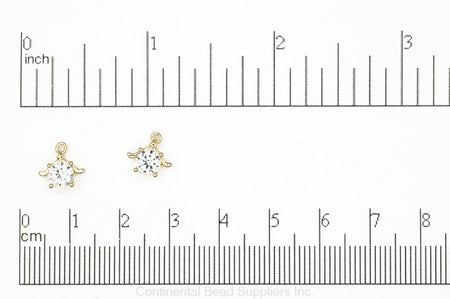 Charm Gold K120 Sea Turtle Cubic Zirconia Charm K120G