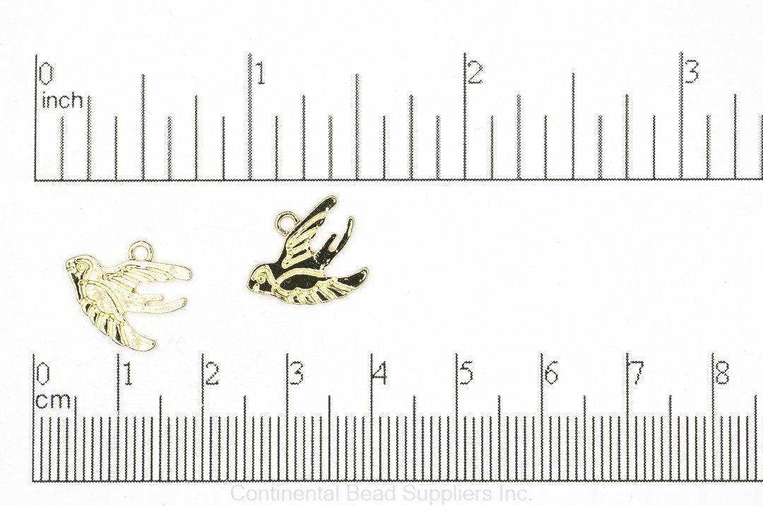 Charm Gold K126 Swallow Bird Charm K126G