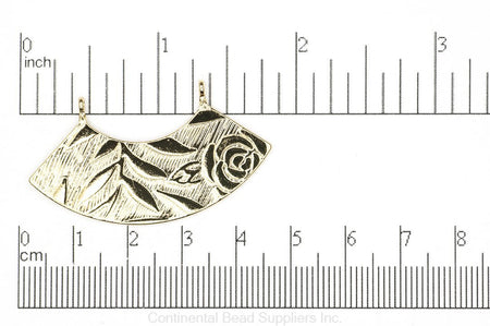 Pendant K141 Curved Collar Connector Pendant with Floral Details