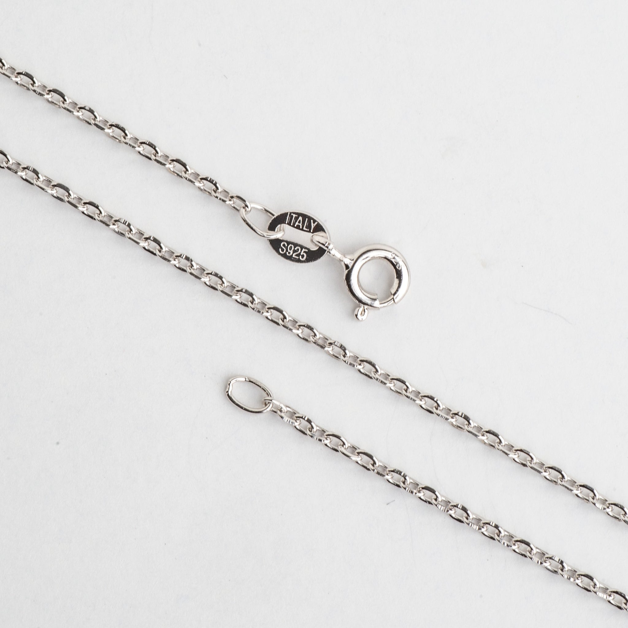 Necklace 16 inch N1ST 1.5mm Cable Chain Sterling Silver Necklace With Spring Ring Clasp Available in 3 Sizes Made in Italy .925 Sterling Silver 1.5mm Cable Chain .925 Sterling Silver Necklace With Spring Ring Clasp  N1ST16