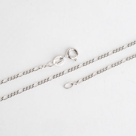 Necklace 16 inch N6ST 1.5mm Figaro Chain Sterling Silver Necklace With Spring Ring Clasp Available in 3 Sizes Made in Italy .925 Sterling Silver 1.5mm Figaro Chain .925 Sterling Silver Necklace With Spring Ring Clasp  N6ST16
