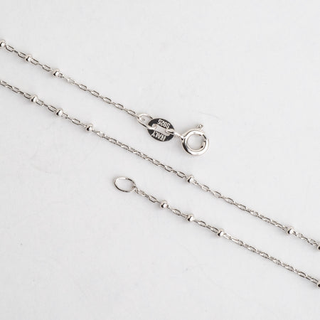 N9ST 1mm Satellite Chain With 1.75mm Bead Sterling Silver Necklace With Spring Ring Clasp Available in 3 Sizes Made in Italy .925 Sterling Silver