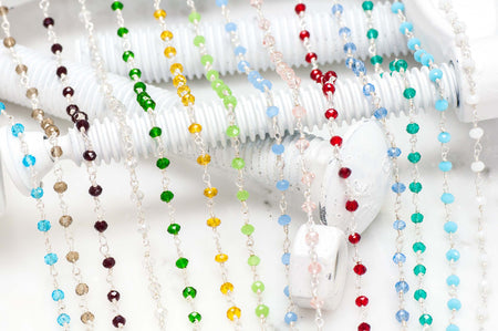 Specialty Chain CH-151 Specialty Beaded Crystal Rosary Chain