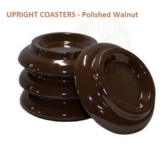 UPRIGHT WOOD COASTERS - Polished Ebony, Polished Mahogany, Polished Walnut, Polished White