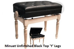 MINUET UNFINISHED ADJUSTABLE BENCH With 'Y' Legs (Brown or Black Top)