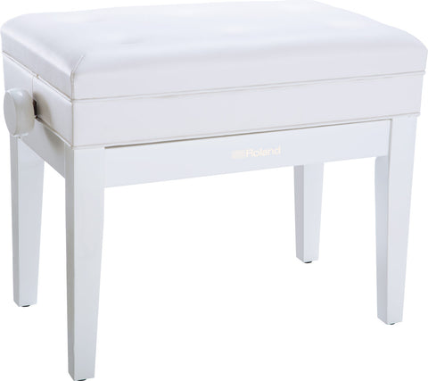 Roland RPB-400 Polished White Adjustable bench w/Music Compartment