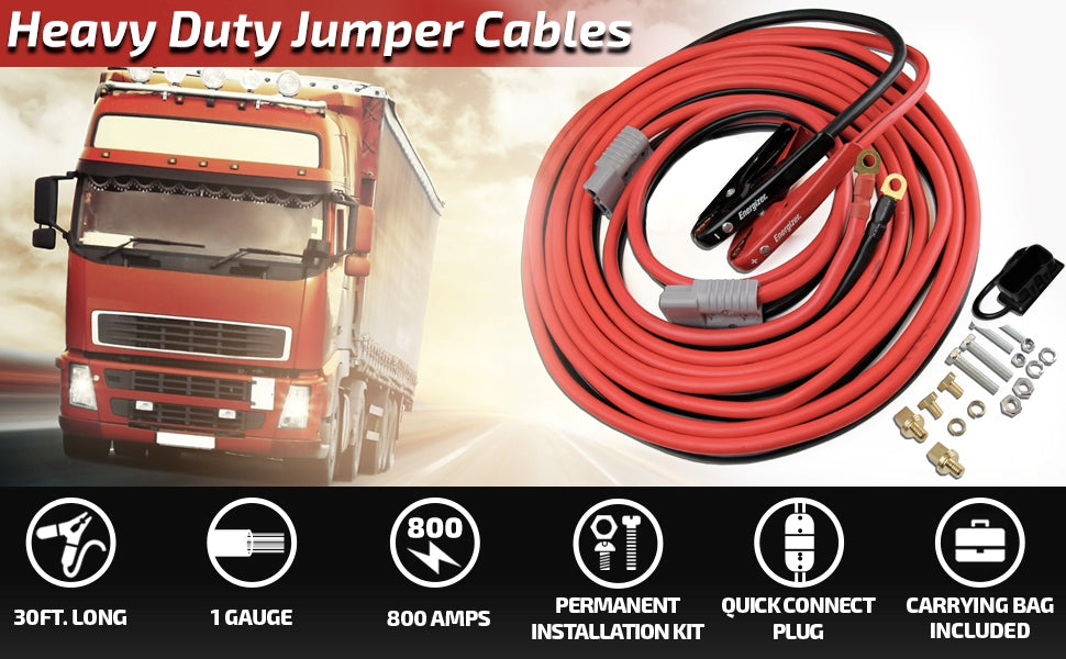RVGUARD 1 Gauge 30 Feet 800A Jumper Cables Heavy Duty Booster Battery Cable with Quick Connect Plug