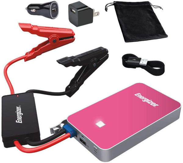 Energizer Heavy Duty Jump Starter 7500mAh with Built-In UL Lithium Battery - Portable Car Jumper and 2.4A Power Bank USB Charger (Pink) - Jump-Starters.com roadside assistance store