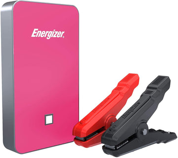 Energizer Heavy Duty Jump Starter 7500mAh with Built-In UL Lithium Battery - Portable Car Jumper and 2.4A Power Bank USB Charger (Pink)