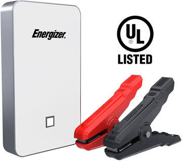 Energizer Heavy Duty Jump Starter 7500mAh with Built-In UL Lithium battery - Portable Car Jumper and 2.4A Power Bank USB Charger (White)