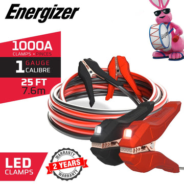 ENL125 Energizer 1-Gauge - Heavy Duty LED Jumper Battery Cables 25 Ft Booster Jump Start - 25' Allows You to Boost Battery from Behind a Vehicle!