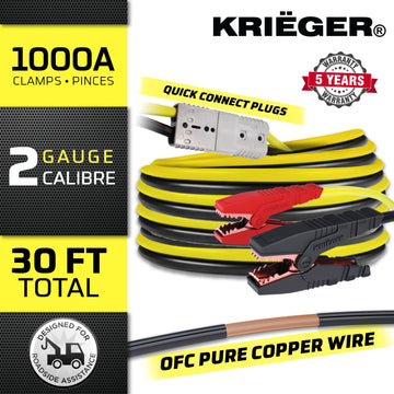 100% Copper KRB230 Krieger 2 Gauge 30' Kit - Permanently Install these OFC Jumper Cables with Quick Connect