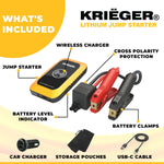 Krieger 1000A Lithium Jump Starter + 10W Wireless charger + QC3.0 USB charger + Flash Light ETL certified