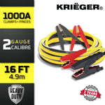 KRB216 Krieger 2 Gauge - Heavy Duty Jumper Battery Cables 16 Ft Booster Jump Start