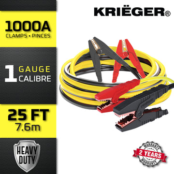 KRB125 Krieger 1-Gauge - Heavy Duty Jumper Battery Cables 25 Ft Booster Jump Start - 25' Allows You to Boost Battery from Behind a Vehicle!