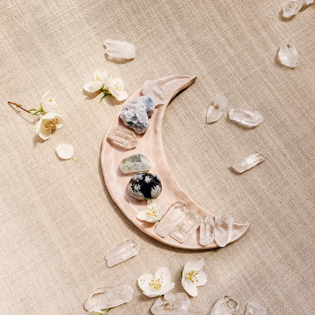 moon crescent ceramic dish