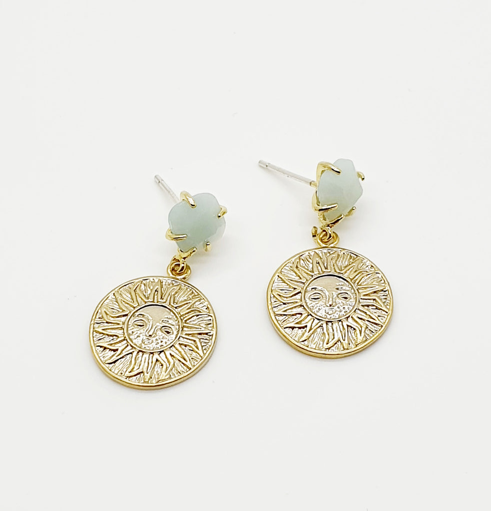 Amazonite Vintage Coin Sun Earrings