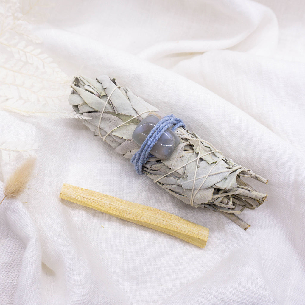 smudge stick with cleansing crystal