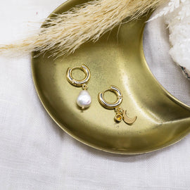 'Sierra' Thick Gold Hoops with Pearl + Charms