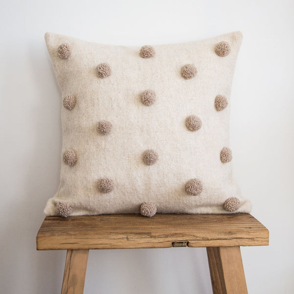 Pom Pom Cushion Cover - Oatmeal